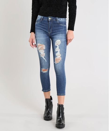 3c91252fc Calca-Jeans-Feminina-Sawary-Cropped-Destroyed-Azul-Escuro-