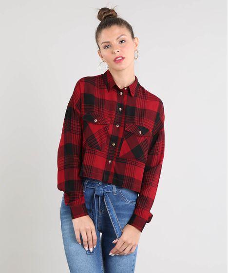 d8d6a8a4e9 Camisa Feminina Cropped Estampada Xadrez Manga Longa Vermelha - cea