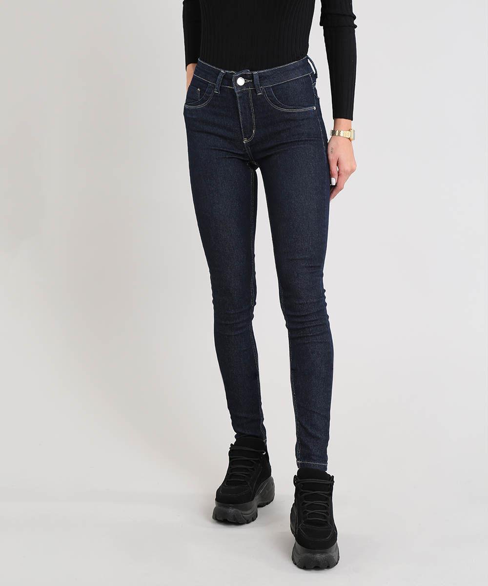 d08d0023f Calça Jeans Feminina Sawary Super Skinny Cintura Alta Azul Escuro - cea