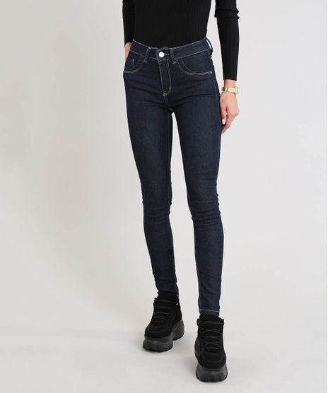 3d05aa1cf Calca-Jeans-Feminina-Sawary-Super-Skinny-Cintura-Alta-