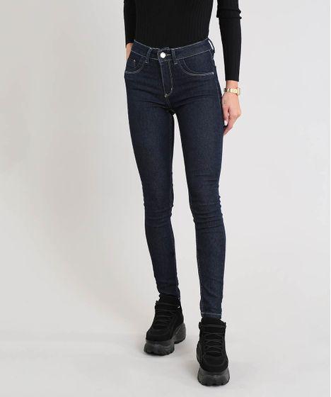 3d818904a Calça Jeans Feminina Sawary Super Skinny Cintura Alta Azul Escuro - cea