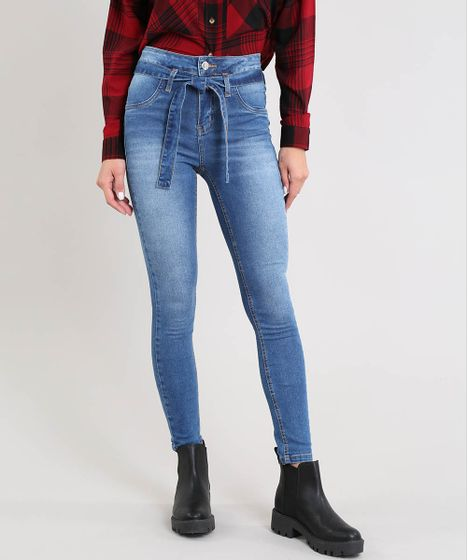 738a01186 Calça Jeans Feminina Sawary Skinny Clochard Azul Médio - cea
