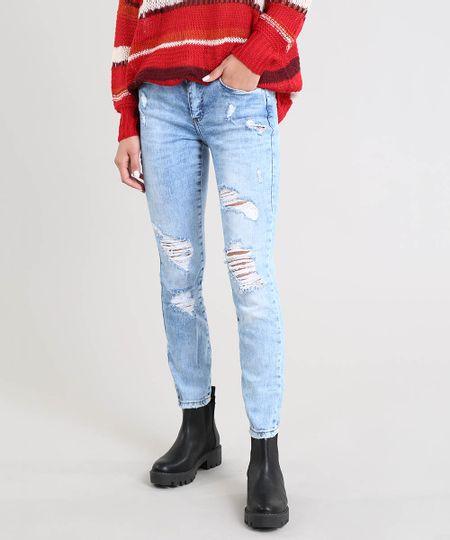 0715caa13 Calça Jeans Feminina Skinny Destroyed Azul Claro