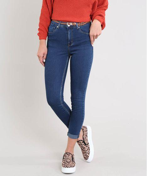 8da8b1f8d Calça Jeans Feminina Cropped com Cinto Azul Escuro - cea