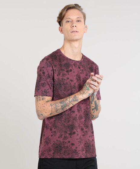 Camiseta-Masculina-Estampada-Floral-Manga-Curta-Gola-Careca-Vinho-9462915-Vinho_1