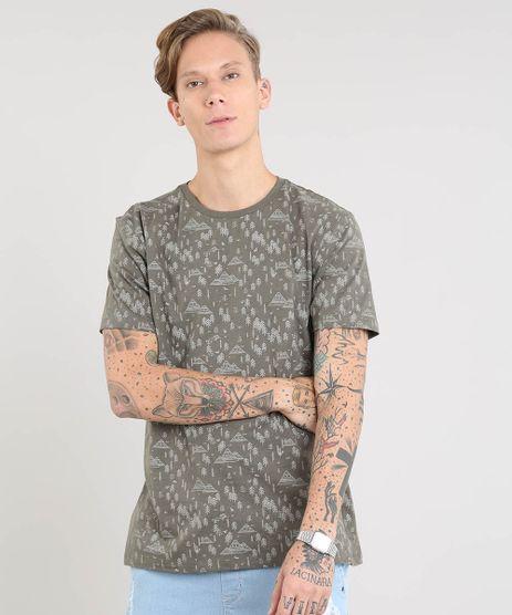 Camiseta-Masculina-Estampada-de-Arvores-Manga-Curta-Gola-Careca-Verde-Militar-9472708-Verde_Militar_1