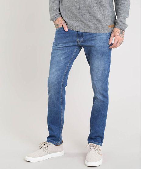 c6ab5f490a Calca-Jeans-Masculina-Slim-com-Puidos-Azul-Medio-