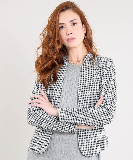d1d323194c Menor preço em Blazer Feminino Estampado Xadrez com Zíper Off White