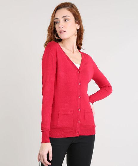 Cardigan-Feminino-em-Trico-com-Bolsos-Vermelho-8186176-Vermelho_1