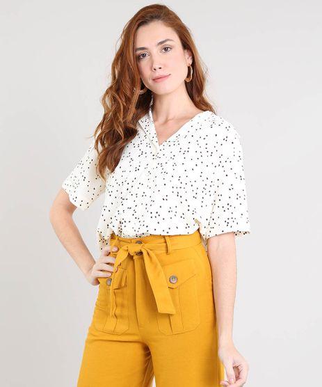 Camisa-Feminina-Estampada-de-Poa-com-Bolso-Manga-Curta-Bege-Claro-9411293-Bege_Claro_1