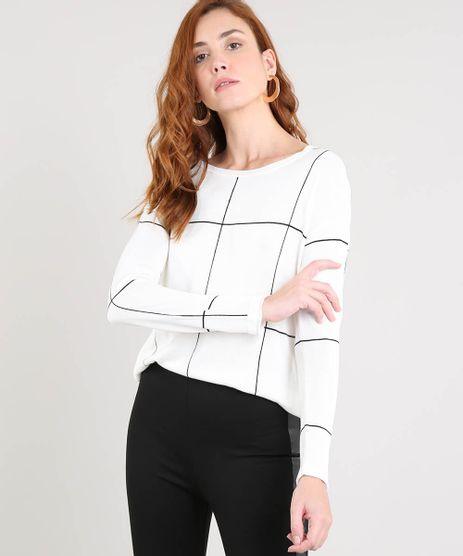 Sueter-Feminino-Estampado-Quadriculado-em-Trico-Off-White-9360037-Off_White_1