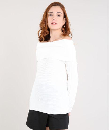 78a6153874 Sueter-Feminino-em-Trico-Gola-Alta-Off-White-. Moda Feminina