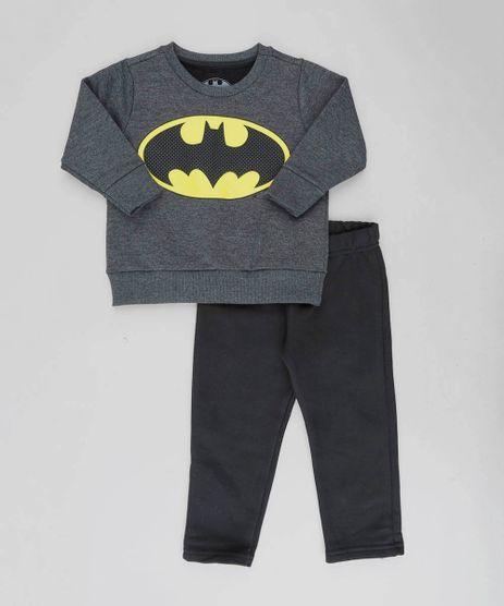 Conjunto-Infantil-Batman-de-Blusao-Cinza-Mescla-Escuro---Calca-em-Moletom-Preta-9129252-Preto_1