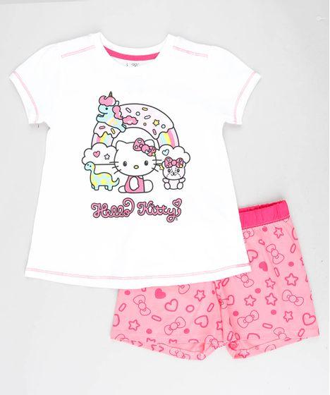 f8a530d27 Pijama Infantil Hello Kitty Manga Curta Off White - cea