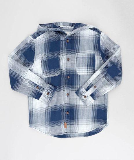 Camisa-Infantil-Estampada-Xadrez-com-Capuz-Manga-Longa-Azul-Marinho-9382070-Azul_Marinho_1