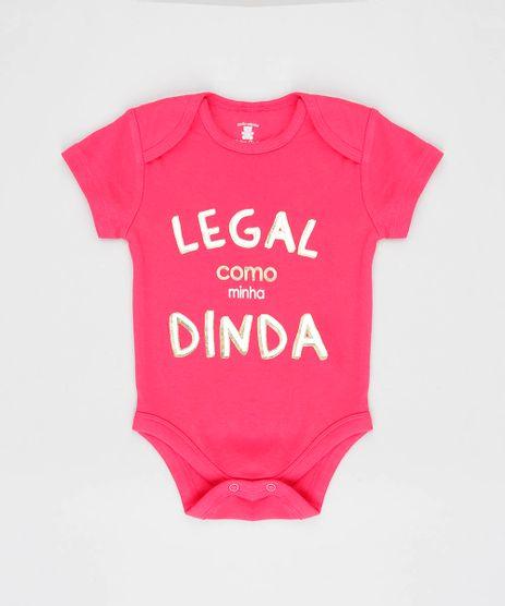 Body-Infantil--Legal-como-Minha-Dinda--Manga-Curta-Decote-Redondo-Rosa-Escuro-9208112-Rosa_Escuro_1