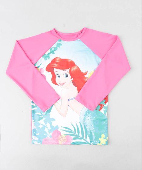 96aa6ec7873714 Blusa de Praia Infantil Pequena Sereia Ariel Raglan Manga Longa com  Proteção UV50+ Rosa
