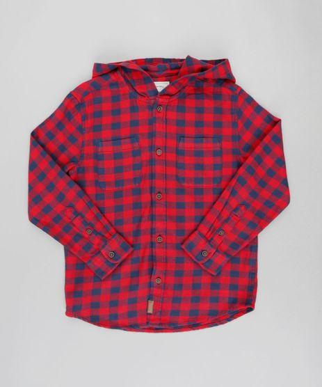 Camisa-Infantil-Estampada-Xadrez-com-Capuz-Manga-Longa-Vermelha-9382069-Vermelho_1