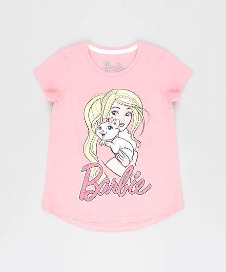 Blusa-Infantil-Barbie-com-Glitter-Manga-Curta-Decote-Redondo-Rosa-9327703-Rosa_1