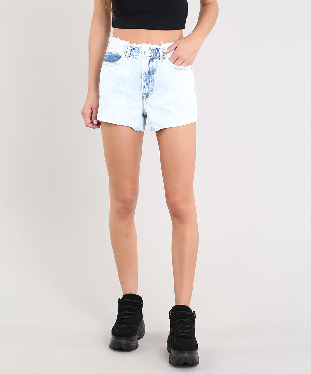 ef570e25f Short Jeans Feminino Vintage Cós e Barra Desfiados Azul Claro - cea