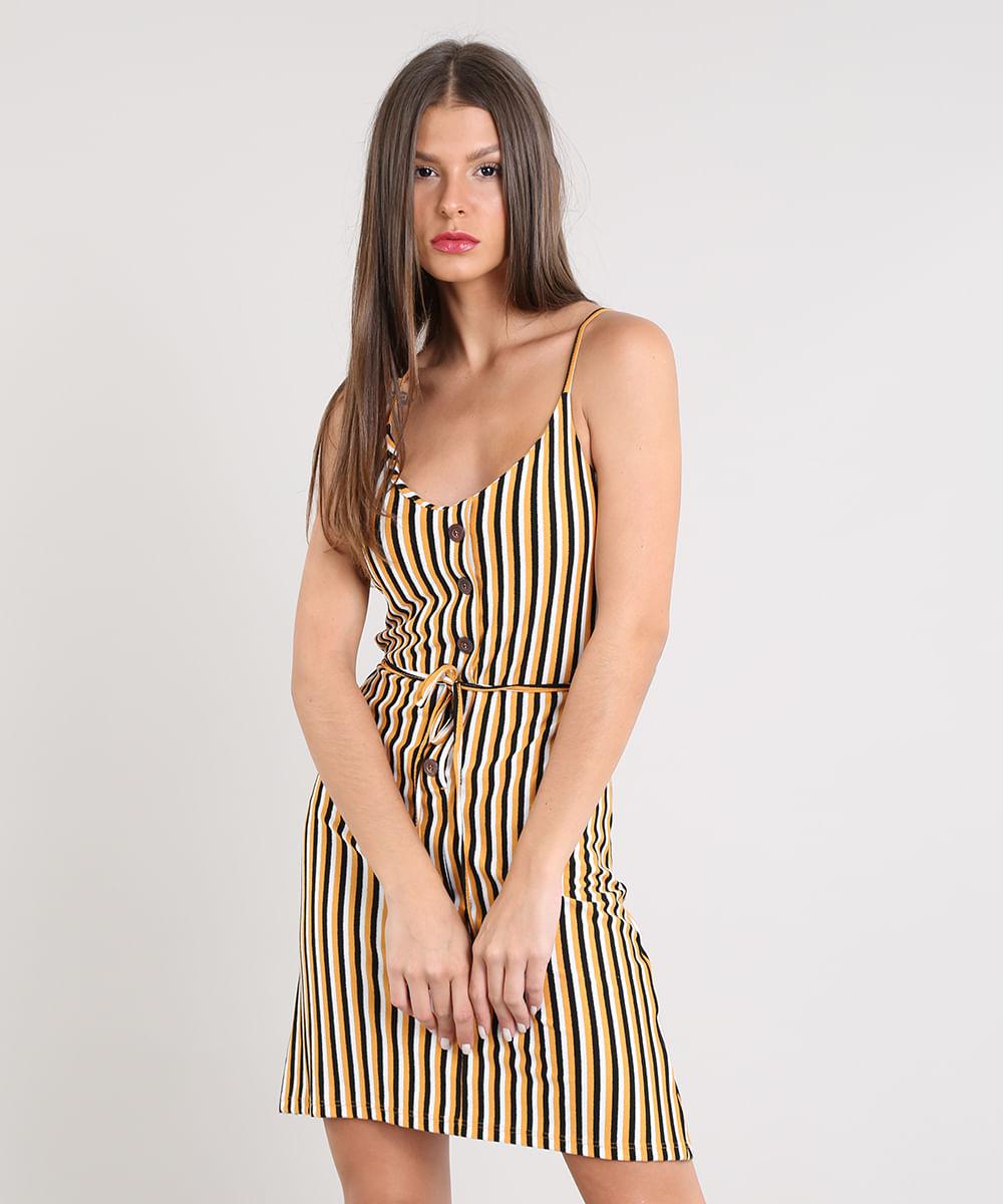3140a4ea9 Vestido Feminino Curto Listrado com Botões Alça Fina Mostarda - cea