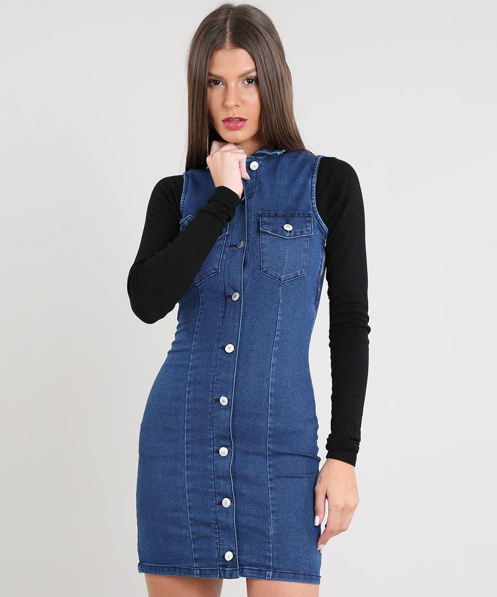 a1b034f3bc6a Vestido Jeans Feminino Curto com Botões Sem Manga Azul Escuro - cea