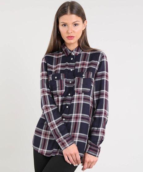 Camisa-Feminina-Estampada-Xadrez-Manga-Longa-Azul-Marinho-9365399-Azul_Marinho_1