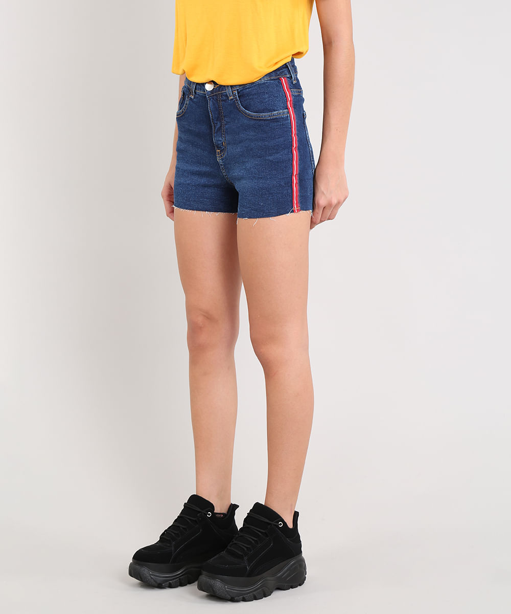 fa0753165 Short Jeans Feminino Vintage com Faixa Lateral Azul Escuro - cea