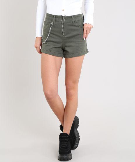Short-de-Sarja-Feminino-Hot-Pant-Cintura-Alta-com-Corrente-Verde-Militar-9539061-Verde_Militar_1