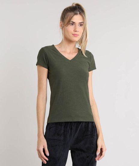 Blusa-Feminina-Basica-Flame-Decote-V-Manga-Curta-Verde-Militar-8525926-Verde_Militar_1