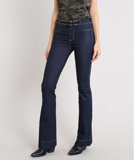 aab1a73d9 Calça Jeans Feminina Sawary Flare com Cinto Azul Escuro - cea