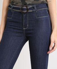 5a1315197 Calça Jeans Feminina Sawary Flare com Cinto Azul Escuro - ceacollections