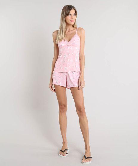 Short-Doll-Feminino-Estampado-Floral-com-Renda-Alca-Fina-Rosa-9372419-Rosa_1