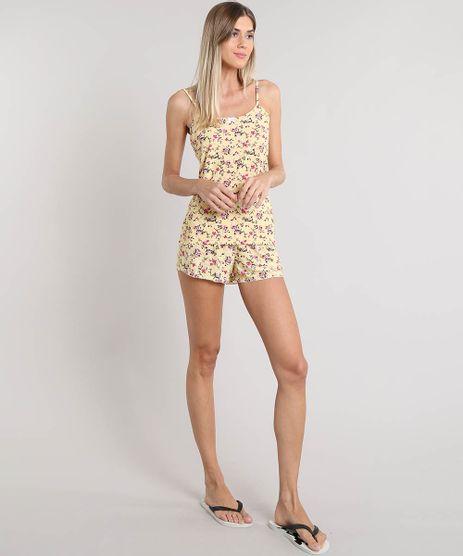 ddcbb09460 Short-Doll-Feminino-Estampado-Floral-Amarelo-9300551-Amarelo 1