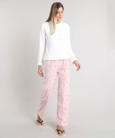 Pijama-de-Inverno-Feminino--Weekend-Lover--em-Fleece-Manga-Longa-Off-White-9371447-Off_White_1
