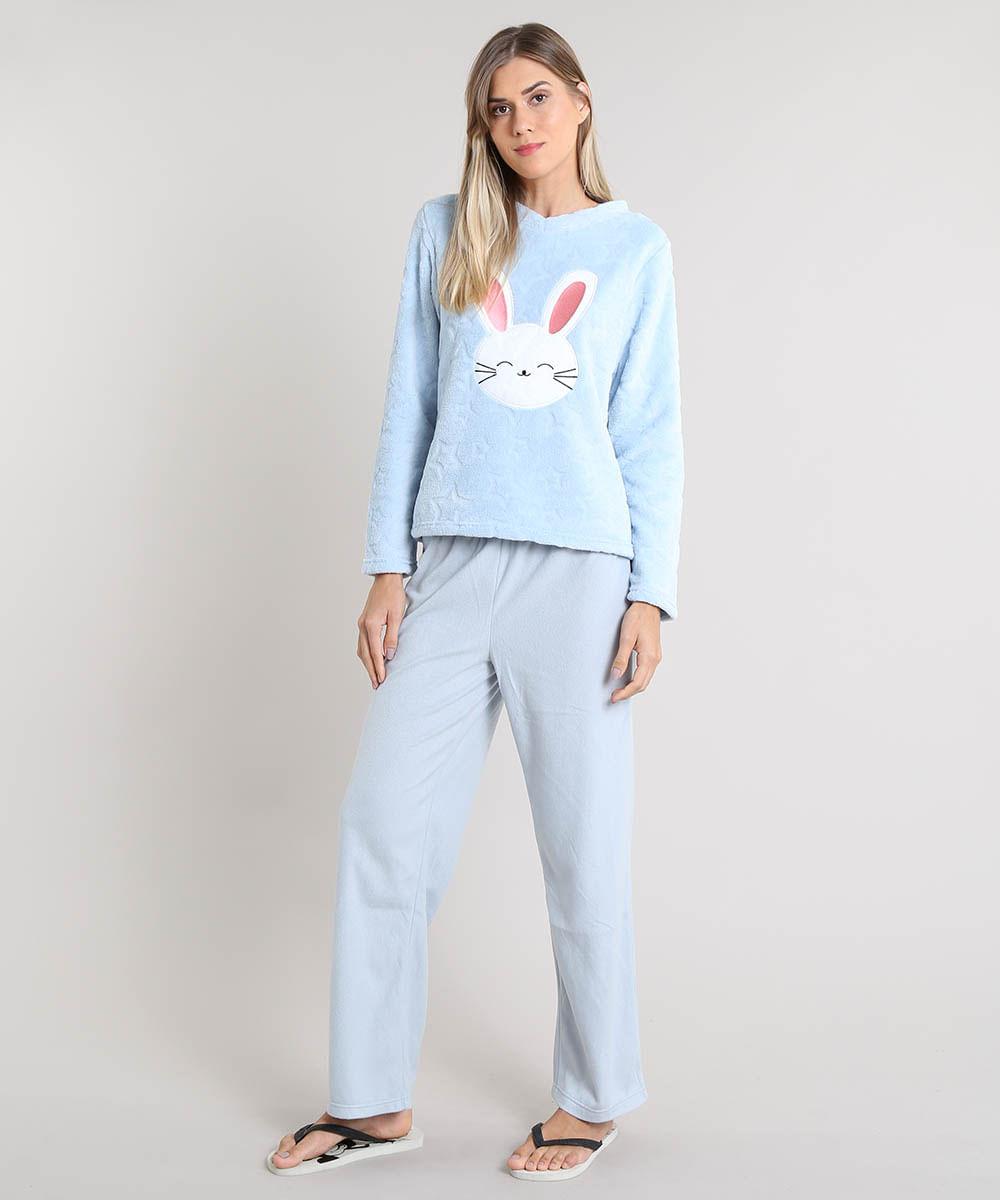 93b026555 Pijama de Inverno Feminino Coelho em Fleece Manga Longa Azul Claro - cea