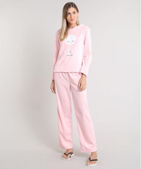 dd75dfcbe Pijama de Inverno Feminino Coelho em Fleece Manga Longa Rosa - cea