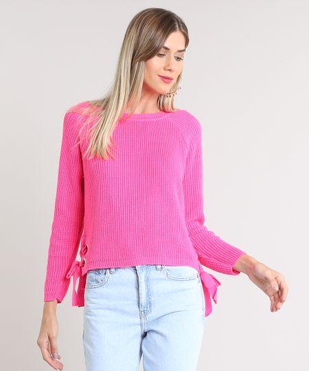 97362753dd Menor preço em Suéter Feminino com Lace Up em Tricô Rosa Neon