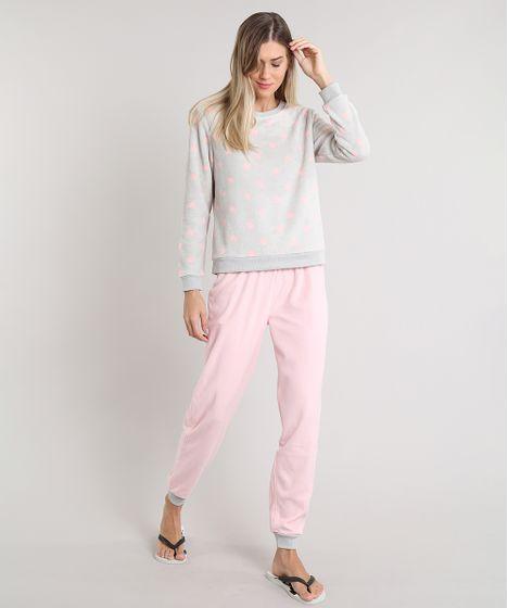 7588bb6a8dfed7 Pijama de Inverno Feminino Estampado de Coração em Fleece Manga ...