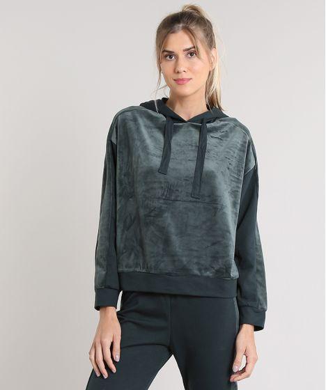 a4db21e80 Blusão Feminino Esportivo Ace em Moletom com Plush e Capuz Verde - cea