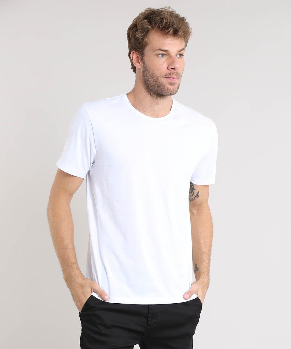 184e7f05ce Camiseta Masculina Básica Manga Curta Gola Careca Branca - cea