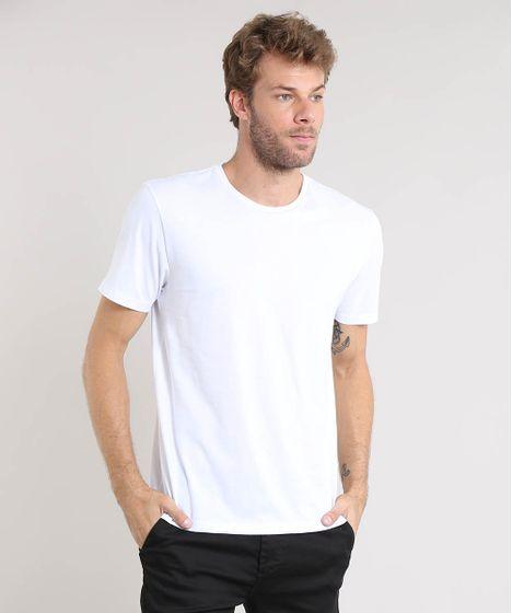d50eb4d69 Camiseta Masculina Básica Manga Curta Gola Careca Branca - cea