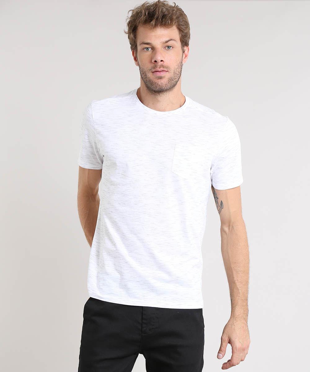 496645b54 Camiseta Masculina Básica com Bolso Manga Curta Gola Careca Branca - cea