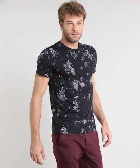 Camiseta-Masculina-Slim-Fit-Estampada-de-Respingos-Manga-Curta-Gola-Careca-Preta-9388103-Preto_1
