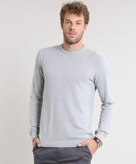 Sueter-Masculino-Slim-Fit-Texturizado-em-Trico-Cinza-Claro-9323974-Cinza_Claro_1