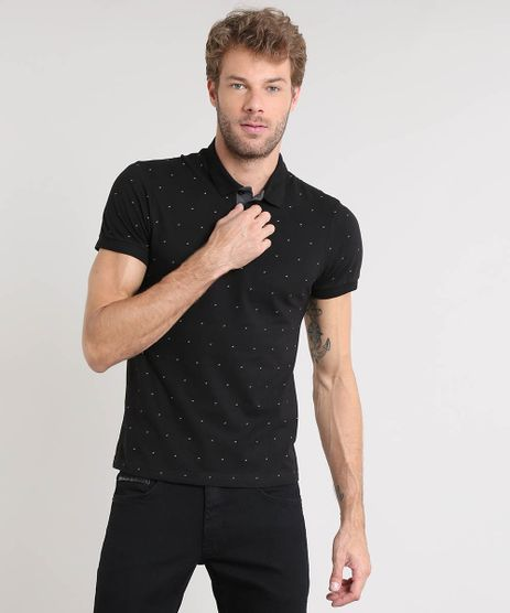 Polo-Masculina-Slim-Fit-Estampada-Mini-Print-Manga-Curta-Preta-9448688-Preto_1