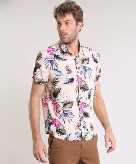 Camisa-Masculina-Estampada-Floral-Manga-Curta-Bege-9419531-Bege_1