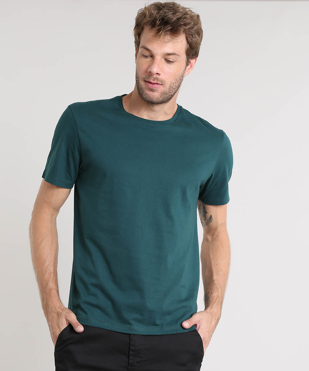 3686490eb Camiseta Masculina Básica Manga Curta Gola Careca Verde - cea