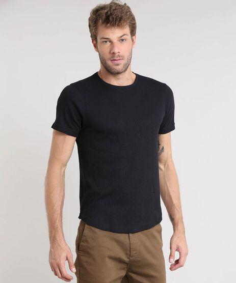 Camiseta-Masculina-Slim-Fit-Canelada-Manga-Curta-Gola-Careca-Preta-9410885-Preto_1