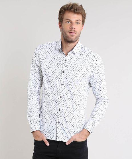 Camisa-Masculina-Slim-Estampada-Mini-Print-Manga-Longa-Branca-9477774-Branco_1